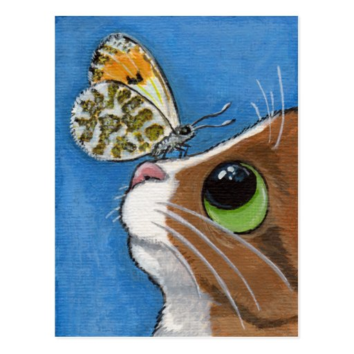Ginger Tabby Cat and Butterfly Post Card