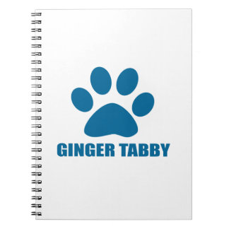 GINGER TABBY CAT DESIGNS SPIRAL NOTEBOOK