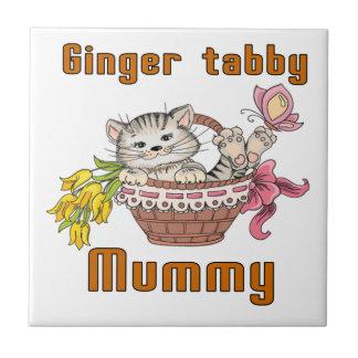 Ginger tabby Cat Mom Small Square Tile