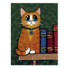 Ginger Tabby Cat on Bookshelf Illustration Postcard