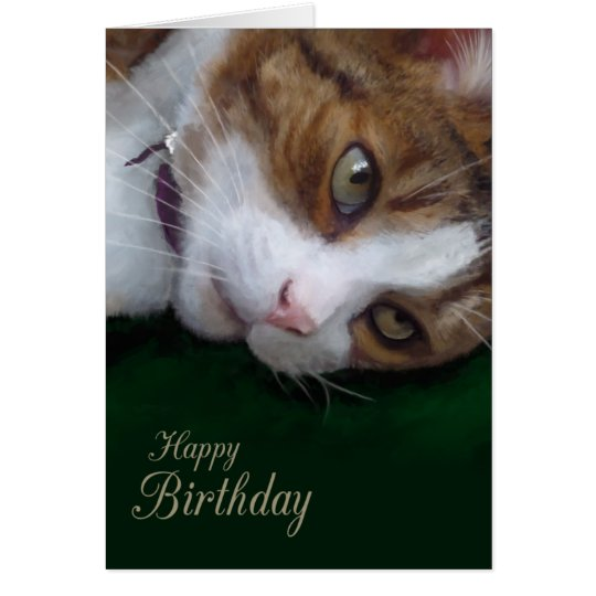 Ginger Tabby Cat Personalizable Happy Birthday Card