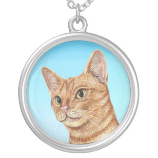 Ginger Tabby Cat Silver Plated Necklace