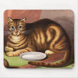 Ginger Tabby Cat Vintage Illustration Mouse Pad