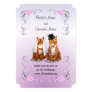 Ginger Tabby Cat Wedding Card