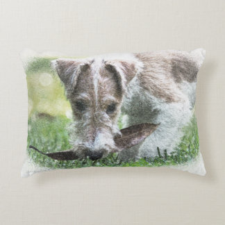 Ginger Wire Fox Terrier Puppy Decorative Cushion