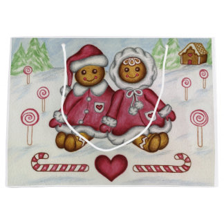 Gingerbread Boy and Girl Gift Bag Large Gift Bag