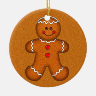 GINGERBREAD BOY by SHARON SHARPE Round Ceramic Decoration