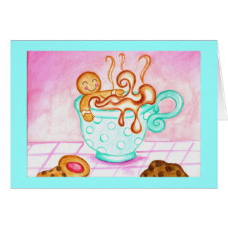 Gingerbread Boy Christmas Coffee Greeting Card