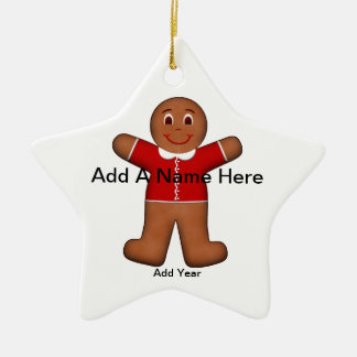 Gingerbread Boy Christmas Holiday Red Star Ceramic Ornament