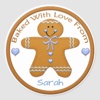 Gingerbread Boy Custom Sticker~Baked with Love Classic Round Sticker