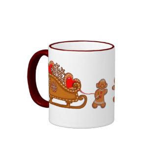 GINGERBREAD BOY, GIRL & SLEIGH by SHARON SHARPE Ringer Coffee Mug