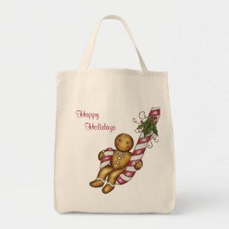 Gingerbread Boy Happy Holidays Shopping Bag
