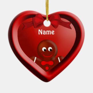 Gingerbread Boy Heart Ornament