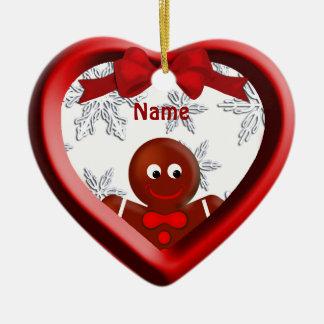 Gingerbread Boy Heart Snowflakes Ornament
