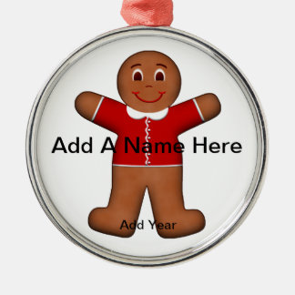 Gingerbread Boy in Christmas Holiday Red Silver-Colored Round Decoration