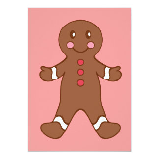 "Gingerbread Boy Invitations 5"" X 7"" Invitation Card"