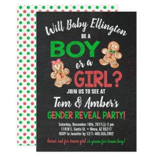 Gingerbread Boy or Girl Gender Reveal Party Invite