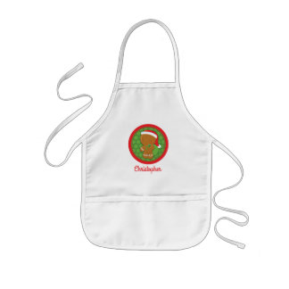 Gingerbread Boy Personalised Kids Christmas Apron