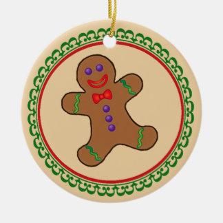 Gingerbread Boy Round Ceramic Decoration