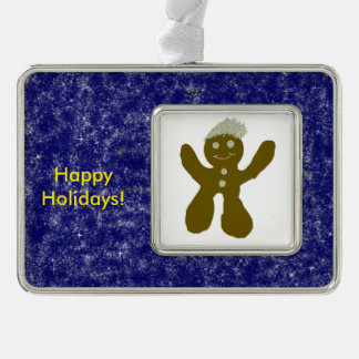 Gingerbread Boy Silver Plated Framed Ornament