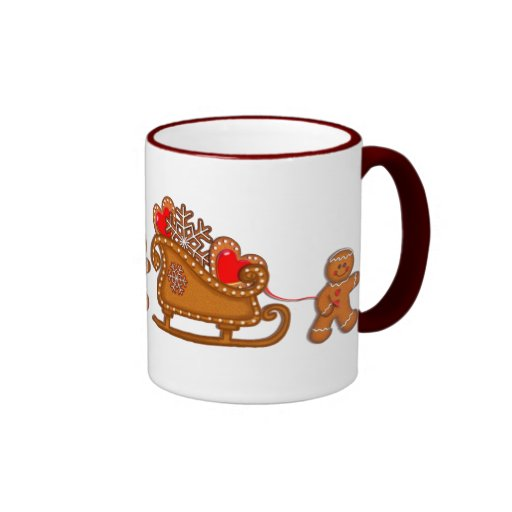 GINGERBREAD BOY & SLEIGH by SHARON SHARPE Coffee Mugs