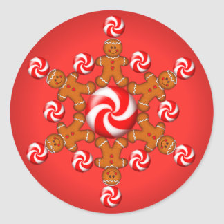 GINGERBREAD BOY STAR by SHARON SHARPE Classic Round Sticker