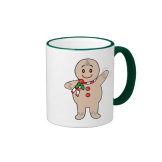 Gingerbread Boy with a Christmas Scarf Mugs