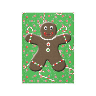 Gingerbread Boy With Christmas Candy Canvas Art Gallery Wrapped Canvas