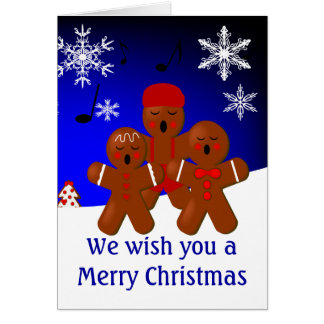 Gingerbread Carolers Merry Christmas Card