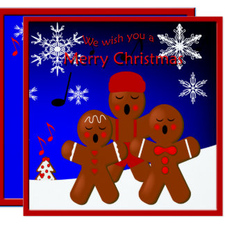 Gingerbread Carolers Merry Christmas Greeting 13 Cm X 13 Cm Square Invitation Card