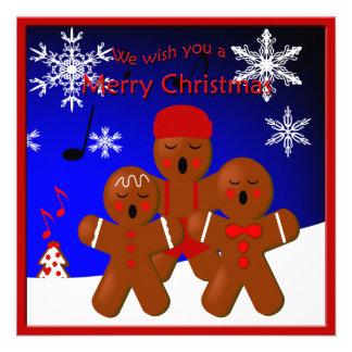 Gingerbread Carolers Merry Christmas Greeting Custom Invites