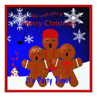 Gingerbread Carolers Merry Christmas Invitation