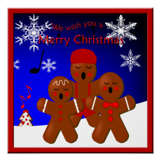 Gingerbread Carolers Merry Christmas Poster