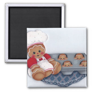 Gingerbread Chef and Baby Ginger Muffins Magnet