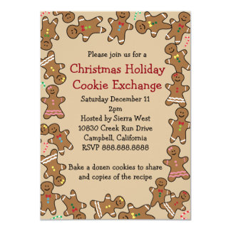 """Gingerbread Christmas Holiday Cookie Exchange 4.5"""" X 6.25"""" Invitation Card"""