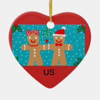 "Gingerbread christmas ornament with ""Us"" heading"