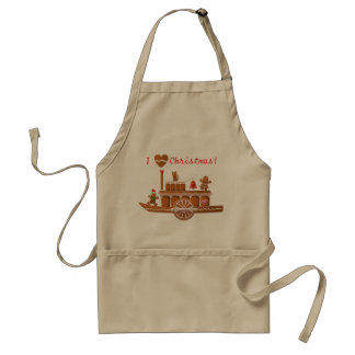 Gingerbread Christmas Steamboat Cartoon Standard Apron