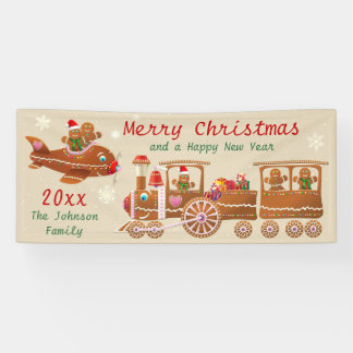 Gingerbread Christmas Train And Airplane Cartoon Banner