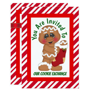 Gingerbread cookie exchange add text invitation