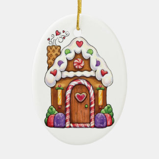 Gingerbread Cookie House & Gingerbread Man Ceramic Oval Decoration