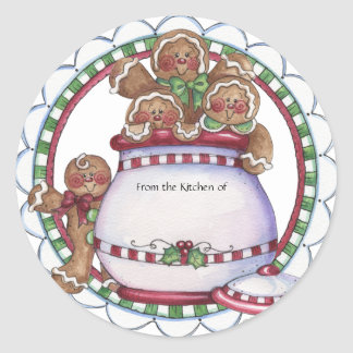 Gingerbread Cookie Jar Label - From the Kitchen of Round Sticker