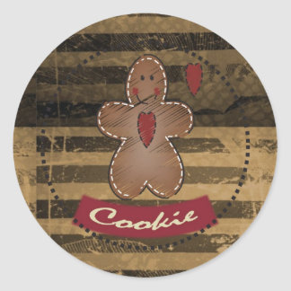 Gingerbread Cookie Man Round Sticker