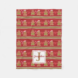 Gingerbread Cookie Monogram Fleece Blanket
