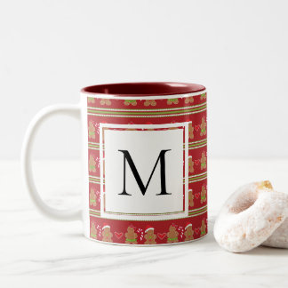 Gingerbread Cookie Monogram Two-Tone Coffee Mug