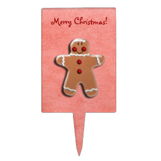 Gingerbread Cookie on Red Cake Pick