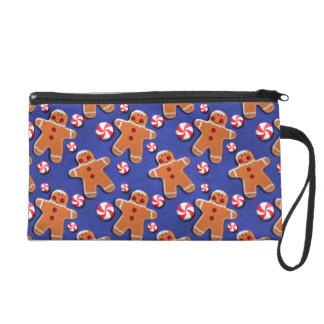 Gingerbread Cookies Candies Blue Wristlet Clutches