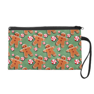 Gingerbread Cookies Candies Green Wristlet Clutch