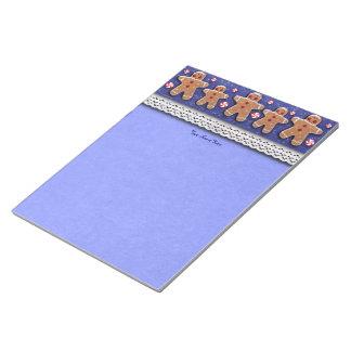 Gingerbread Cookies Candies Sprinkles Blue Notepads