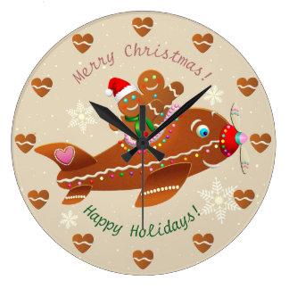 Gingerbread Cookies' Christmas Airplane Large Clock
