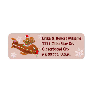 Gingerbread Cookies' Christmassy Airplane Cartoon Return Address Label